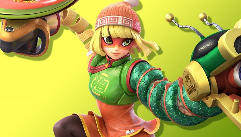 Min Min from ARMS bowls into Smash Bros Ultimate